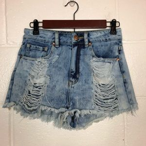 Bullhead Mom Denim Shorts Distressed High Waist 5